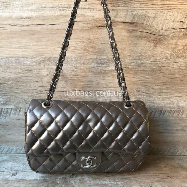 женская сумка шанель 2.55 купить серебряная