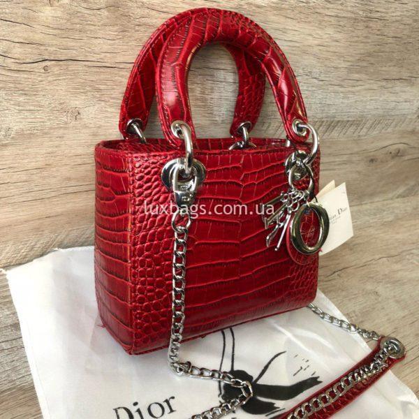 красная сумка Dior Lady