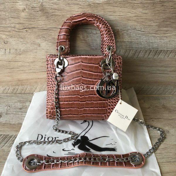 сумка Dior Lady с выделкой под крокодил