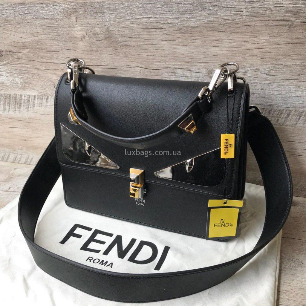 черная кожаная сумка фенди 4