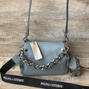 голубая мини сумка через плечо polina&eiterou 1