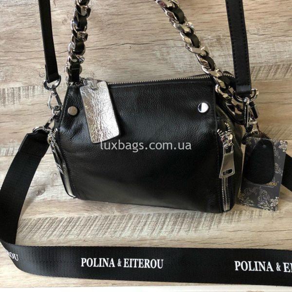 черная мини сумка через плечо polina&eiterou 1