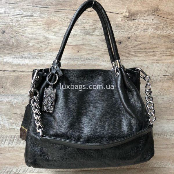 черная кожаная сумка на плечо 8