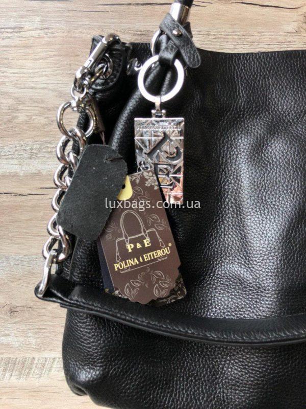 черная кожаная сумка на плечо 7