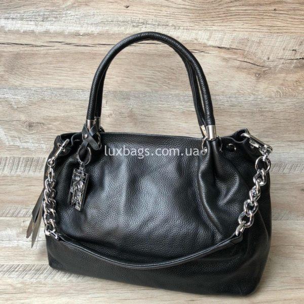 черная кожаная сумка на плечо 6