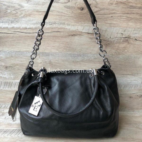 черная кожаная сумка на плечо 5
