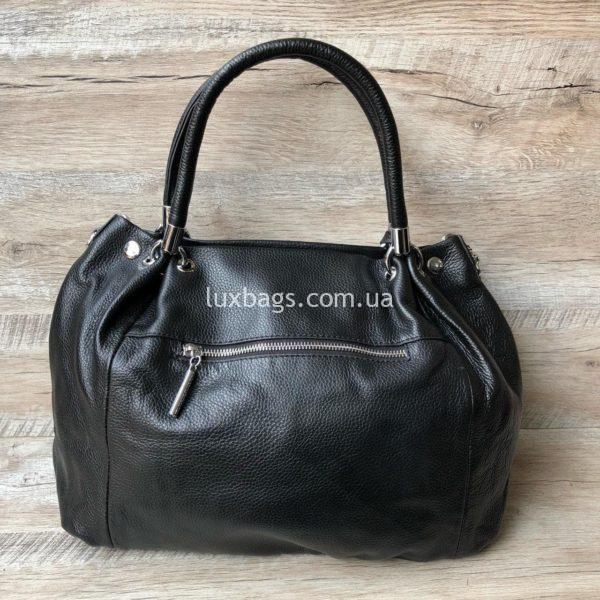 черная кожаная сумка на плечо 3