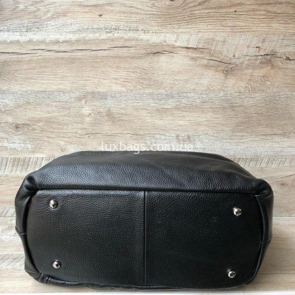 черная кожаная сумка на плечо 2
