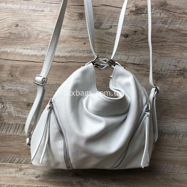 белая сумка-рюкзак 3