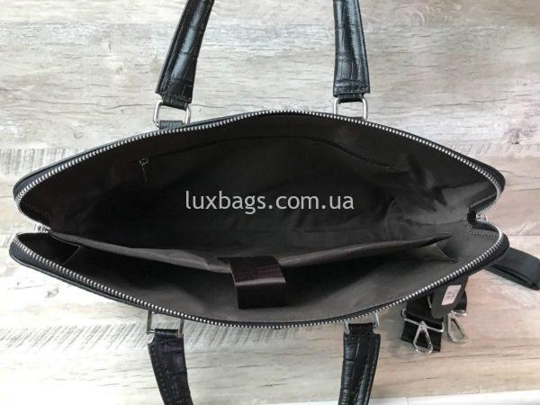 Мужской кожаный портфель с выделкой под кожу крокодила вид 4