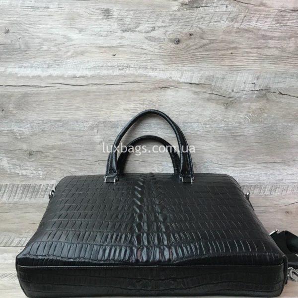 Мужской кожаный портфель с выделкой под кожу крокодила вид 3