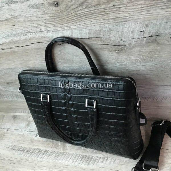 Мужской кожаный портфель с выделкой под кожу крокодила вид 2
