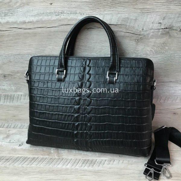 Мужской кожаный портфель с выделкой под кожу крокодила вид