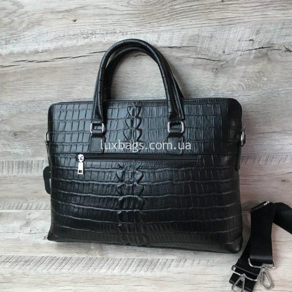 Мужской кожаный портфель с выделкой под кожу крокодила вид 5