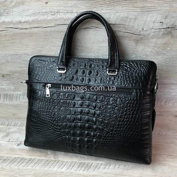Мужской кожаный портфель с выделкой под кожу крокодила вид 10