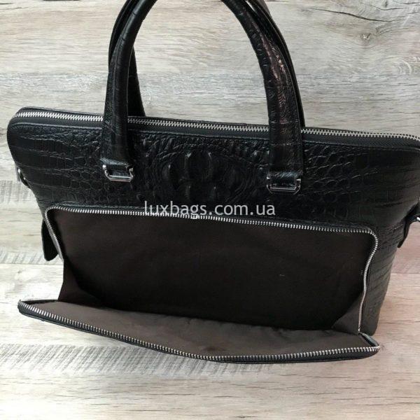 Мужской кожаный портфель с выделкой под кожу крокодила вид 9