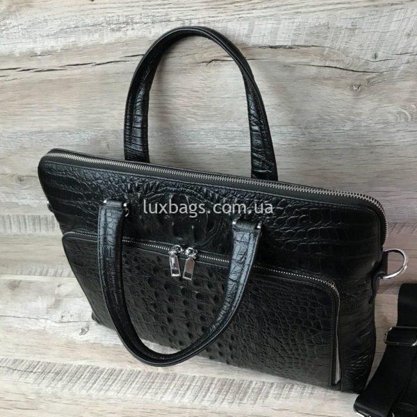 Мужской кожаный портфель с выделкой под кожу крокодила вид 7