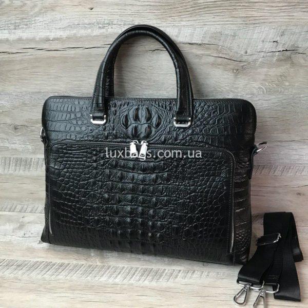Мужской кожаный портфель с выделкой под кожу крокодила вид 6