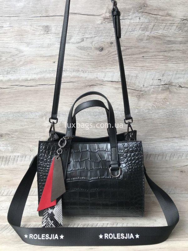 кожаная сумка с выделкой под крокодила 6