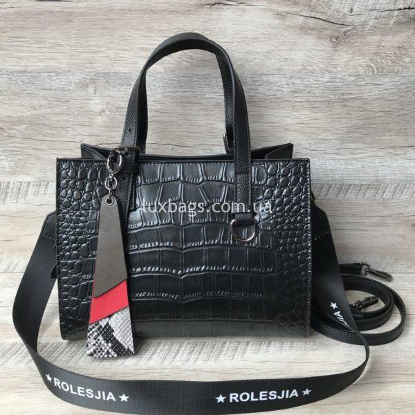кожаная сумка с выделкой под крокодила 5