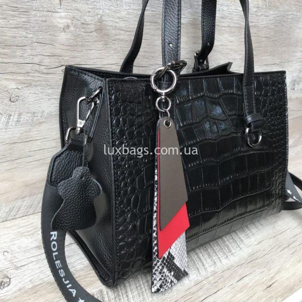кожаная сумка с выделкой под крокодила 4
