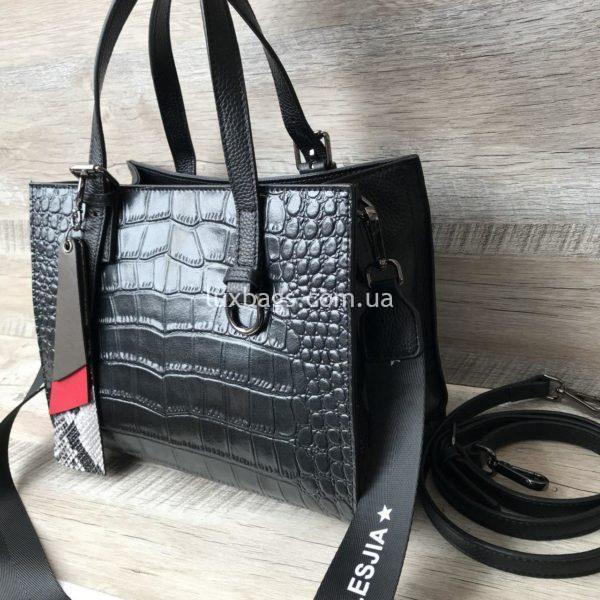 кожаная сумка с выделкой под крокодила 3
