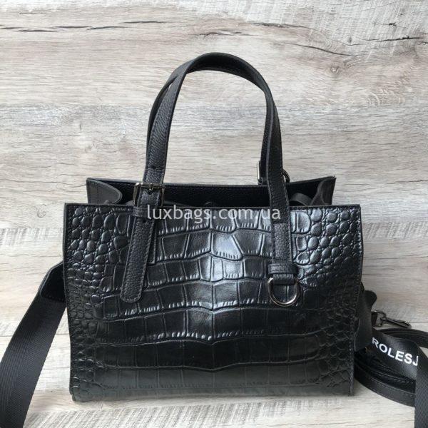 кожаная сумка с выделкой под крокодила