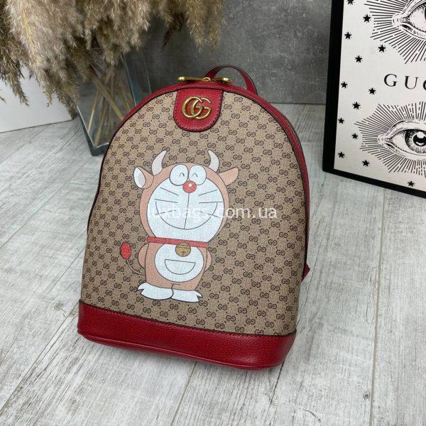 Красный рюкзак Гуччи с принтом 3.