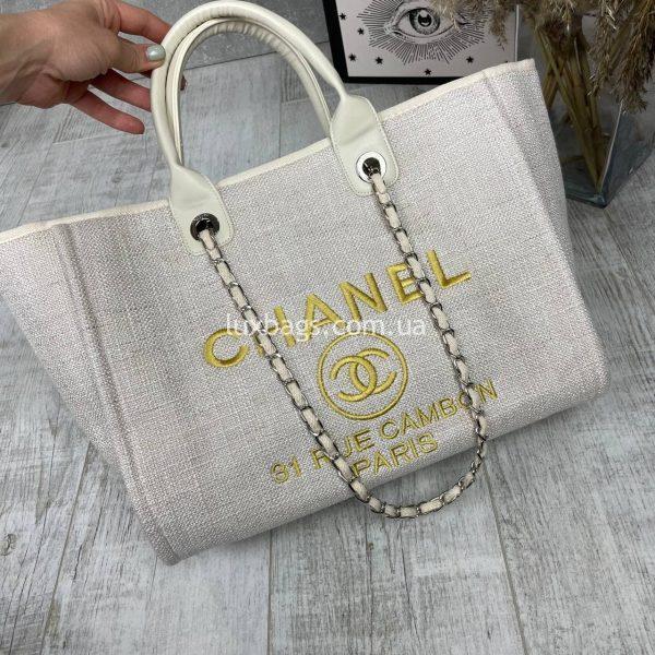 Сумка-шопер Шанель текстильная.
