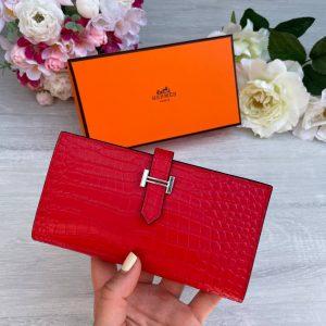 Складной красный кошелек Hermes